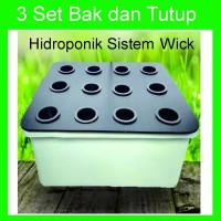 Paket 3 Set Bak dan Tutup Hidroponik Sistem Wick