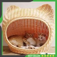 Kandang Rumah Kucing Anjing Hewan Rotan Alami Murah Senirattan