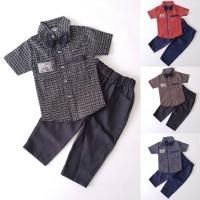 Baju Setelan Pesta Anak Laki Kemeja Katun Dasi Pita Celana Panjang
