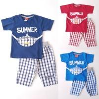 Baju Setelan Anak Laki Canasta Kaos Summer Bag Celana Katun Kotak
