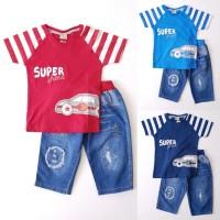 (3-5thn) Baju Setelan Anak Laki Kaos Mobil Super Celana Jeans Pendek