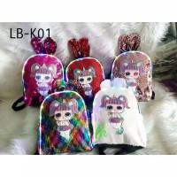 tas ransel backpack punggung sekolah anak lol sequins led lampu import