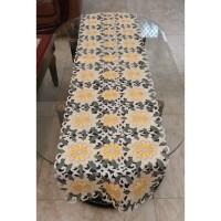 Taplak Meja Tamu Bordir Bunga Kuning 40x180 cm