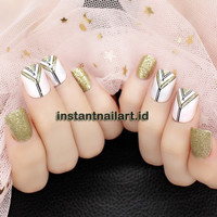 JM-2250 Kuku Palsu Cantik Pink Gold White Nail Art Golden Murah Bagus