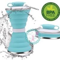 Botol minum silikon lipat portable collapsible / botol minum bpa free