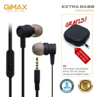 HANDSFREE EARPHONE ORIGINAL QIMAX EXTRABASS HIGH QUALITY BEST SOUND