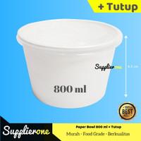 Paper Bowl 800 ml + Tutup, Mangkok Kertas, Rice Bowl, Kemasan Makanan
