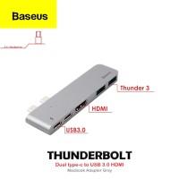 Baseus Thunderbolt Dual Type-C to USB3.0 HDMI Type-C Macbook Adapter - Grey