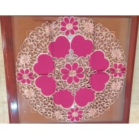 Taplak Meja Bulat Bordir Bunga Merah Emas diameter 90 cm