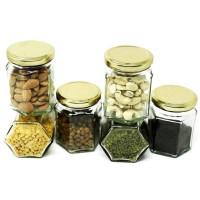 Botol Jar Toples Kaca : 195ml Segienam (Hexagon), Penutup SENG