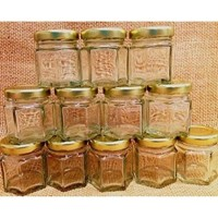 Botol Toples Beling Jar 45ml (kaca) : Segienam (Hexagon) & penutup