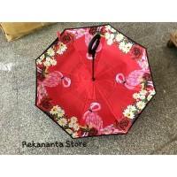 Payung Terbalik Flamingo Red Gagang C / Reverse Umbrella