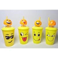 Gelas Plastik Karakter Emoji Smile Tutup goyang Pajangan Souvenir