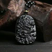 Kalung / Liontin Batu Asli Obsidian Naga Cina Hitam