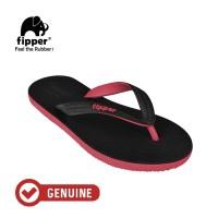 Fipper Black - M Series / Sandal Jepit Pria / Black - Red Ruby