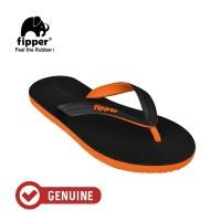 Fipper Black - M Series / Sandal Jepit Pria / Black - Orange