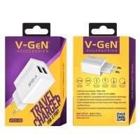 Adaptor Charger V-Gen VTC2-05 2.4A 2Port Travel