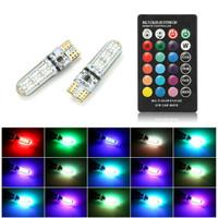 LAMPU LED T10 MOBIL MOTOR RGB 6 MATA JELLY ISI 2PCS + REMOTE E051 Lamp