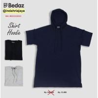 Kaos Polos HOODIE Pria IJDAZKH 003 Lengan Pendek | HITAM | Size M-L-XL