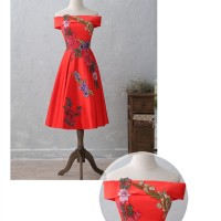 JaneVini Red Tea-Length Evening Dress Embroidery Appliques Boat Neck