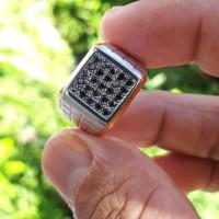 cincin perak berlian hitam mewah 25 biji grab it fast