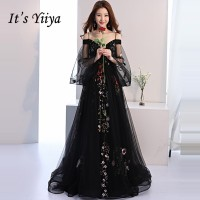 It's YiiYa Evening Dress 2019 Black Embroidery Floral Spaghetti