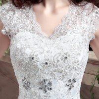 New Arrive Korean Style Large Size Wedding Dress Lace Embroidery