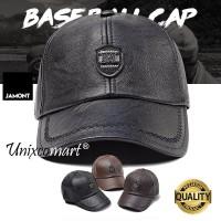 Jamont M Logo Topi Baseball Hat Casual Sport Pria Wanita PU Leather