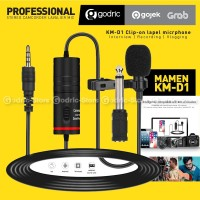 MAMEN KM-D1 MIC Clip On Lavalier Microphone for VLOG CAMERA DSLR HP