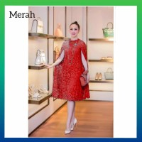 baju dress pesta wanita elegant gaun brokat brukat natal dress merah
