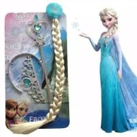 Elsa Frozen Accesories Set (Rambut+Mahkota+Tongkat)