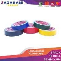1 Lusin Lakban Kain hitam Warna 1 Inch x 10Y Sazanami Cloth Tape