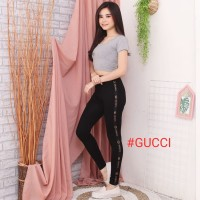 Celana Legging List Fashion Wanita / lagging Gucci Fendi Import