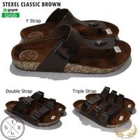 STEXEL Classic Brown Sandal Casual Handmade Original Kekinian - Y Strap, 39