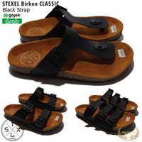 STEXEL Classic Black Strap Sandal Casual Pria & Wanita Handmade