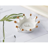 Tempat Perhiasan Ceramic Crown Ring Jewelry Rack Eating Bracelets