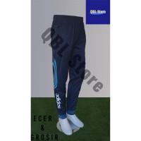 Celana Training Import Joger Sweatpants 7/8 Adidas Dongker Biru Muda