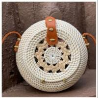 Tas Rotan Motif Kendi Putih Handmade Asli Lombok