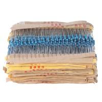 Borong Set 2000Pcs Resistor Metal 1 / 4W 100 Value 1 ohm to 1M ohm