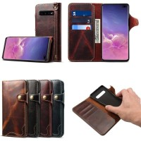 samsung S10 PLUS Cenmaso genuine wallet leather flip cover card s10+