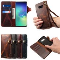 Cenmaso genuine wallet leather flip cover card samsung galaxy S10E