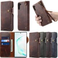 Cenmaso genuine wallet leather flip cover card samsung galaxy NOTE 10