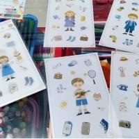 DIY Stiker Set Dekorasi 3D Diary Deco Stickers Tema Hobi (lsi 4pcs)