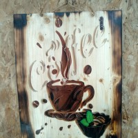 Poster Lukisan Kayu Jatibelanda Bakar Coffee Kopi Kafe Vintage