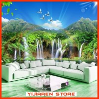 3D Wallpaper Dinding | Wall Sticker Custom | Waterfall Air Terjun 13
