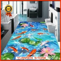 3D Wallpaper Lantai | Floor Sticker | Wallpaper Lantai Ikan Koi Biru