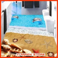 3D Wallpaper Lantai | Floor Sticker Custom | Pantai Dolphin