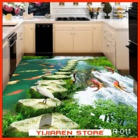 3D Wallpaper Lantai | Floor Sticker Custom | Dekorasi | Jembatan Ikan