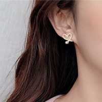 Anting Tusuk Korea MODEL LOVE HATI MUT BLINK SILVER S925 NEEDLE A9823