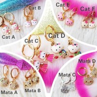 XUPING Anting Anak HELLO KITTY Perhiasan Lapis Emas